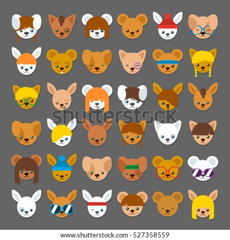 Large collection of colorful cartoon animal head avatars for internet identification with a cat , bear, rabbit and mouse with different accessories or hairstyles, vector illustration