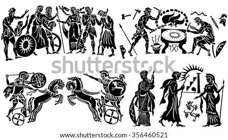 Large collection of Greek songs on a white background. - stock vector