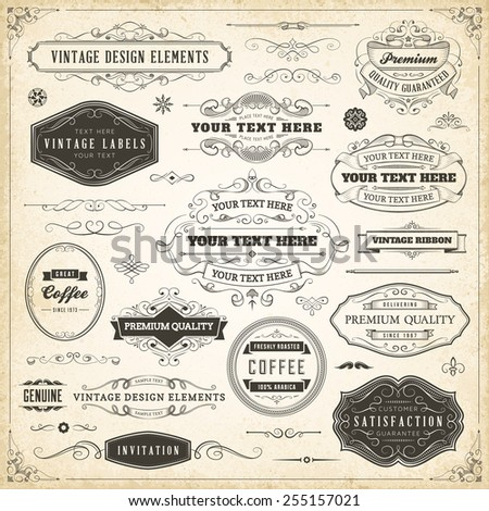 Large collection of hand drawn vintage design elements.