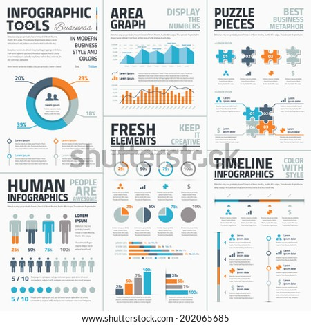 Large collection of infographic vector templates - stock vector
