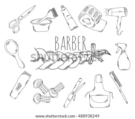 Large collection of line icons in hand drawn style for the profession of barber. Vector illustration