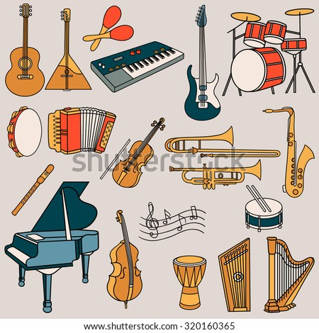 Large collection of musical instruments hand drawn icon set. Doodle collection icon vector - stock vector