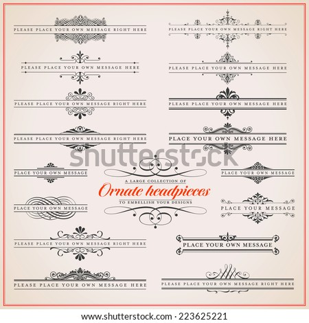 "large collection of ornate headpieces in different styles - great for invitation/greeting cards and all kinds of documents needing a ""classical"" feel - stock vector"
