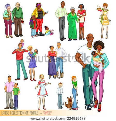 Large collection of people - Families. Isolated - stock vector