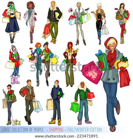 Large collection of people with shopping bags, Fall - Winter edition. - stock vector