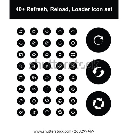 large collection of reload and refresh icon set - stock vector