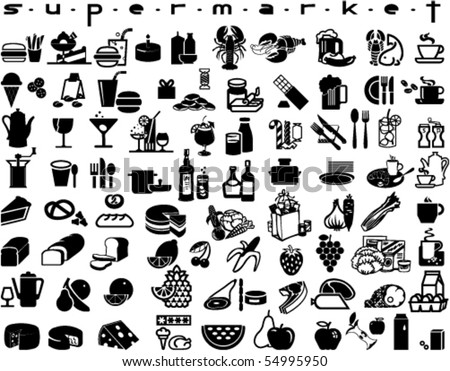 Large collection of supermarket symbols - stock vector