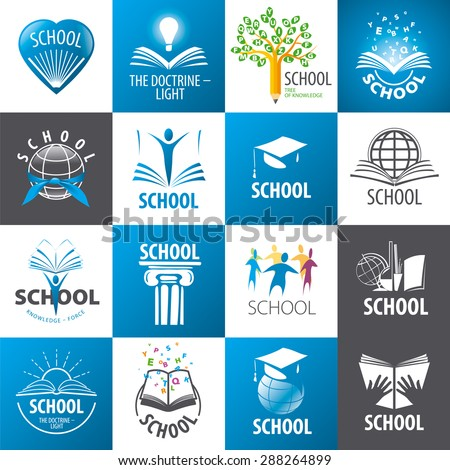 large collection of vector logos School - stock vector