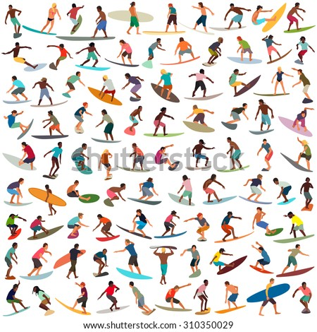 Large collection of vector surfers - stock vector