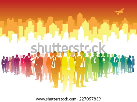 Large crowd of businesspeople standing over white city - stock vector