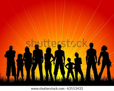Large crowd of people against a sunset sky - stock vector