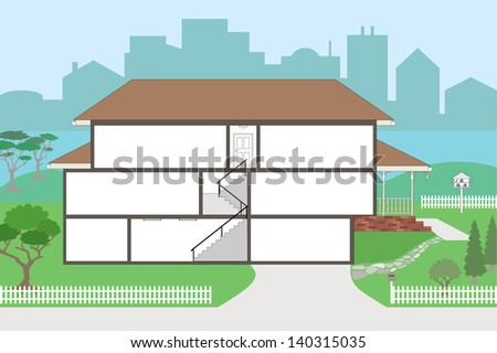 Large Cutaway House Ready to Decorate - please see my portfolio for the rooms which will fit straight into this house, rooms are very highly detailed including wallpapers  - stock vector