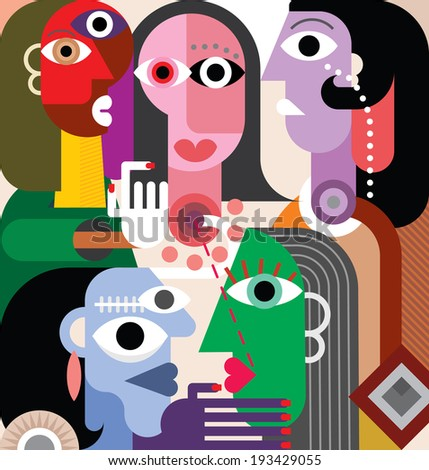 Large Family. Abstract art vector illustration. - stock vector
