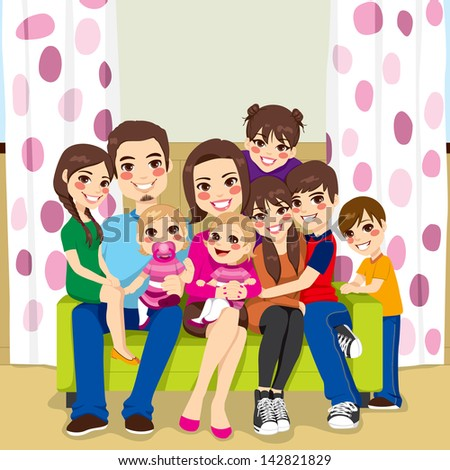 Large family of mother and father with seven children happy posing smiling together sitting on a sofa - stock vector