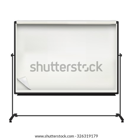 Large flip chart board over white background - stock vector