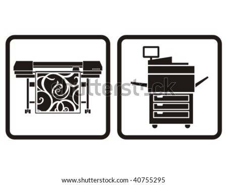 Large format printer and multifunction printer vector icons. - stock vector