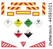Large goods vehicle rear markings and warning plates - stock vector