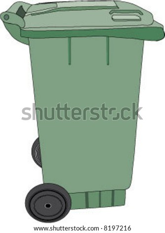Large green rubbish bin with wheels (vector)