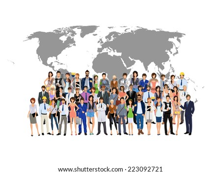 Large group crowd of people adult professionals with world map on background vector illustration - stock vector