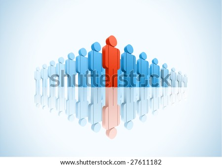 Large group. 3d vector group of people illustration - stock vector