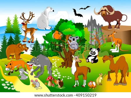 large group of animals in the green forest, vector and illustration