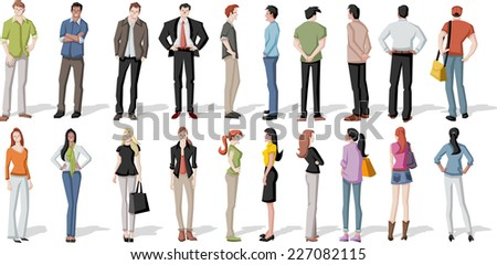 Large group of cartoon young people - stock vector