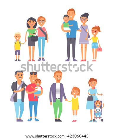 Large group of people and family people vector character set. Big happy smile family people and togetherness family people laughing parents with kids. Cheerful lifestyle cute family people with kids. - stock vector