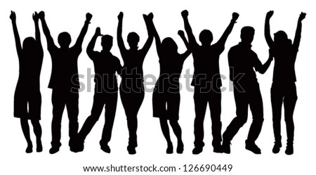 Large group of people celebrating. Vector image - stock vector
