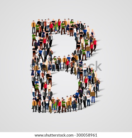 Large group of people in letter B form. Vector seamless background - stock vector