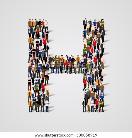 Large group of people in letter H form. People font. Clean vector font. Vector seamless background - stock vector