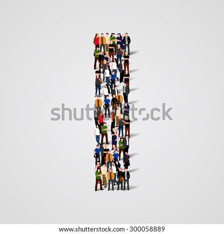 Large group of people in letter I form. People font. Clean vector font. Vector seamless background - stock vector