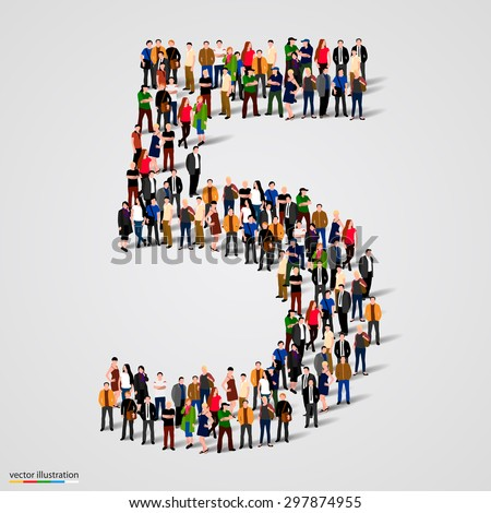 Large group of people in number 5 five form. People font. Vector illustration - stock vector