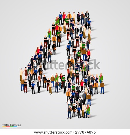 Large group of people in number 4 four form. People font. Vector illustration - stock vector