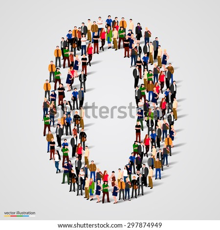 Large group of people in number 0 zero form. People font. Vector illustration - stock vector