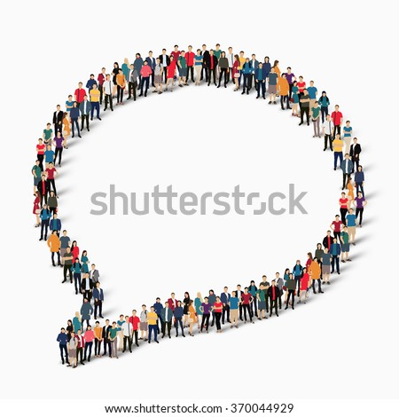 Large group of people in the shape of a chat bubble. Vector illustration - stock vector