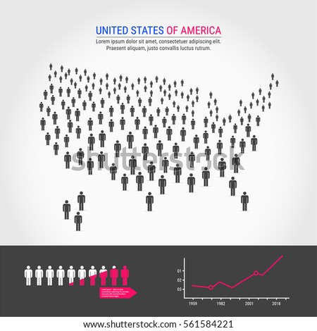 Large Group Of People In The Shape Of America Or Usa Map Background For Presentation