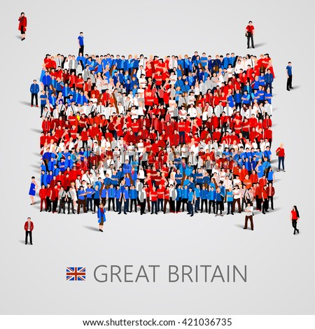 Large group of people in the shape of British flag. United Kingdom of Great Britain. Election or referendum concept. Vector illustration - stock vector