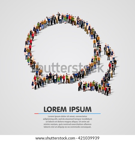 Large group of people in the shape of chat bubbles. Vector illustration - stock vector