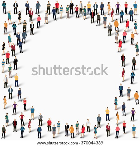 Large group of people in the shape of  circle . Vector illustration. - stock vector