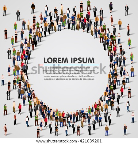 Large group of people in the shape of circle. Vector illustration - stock vector