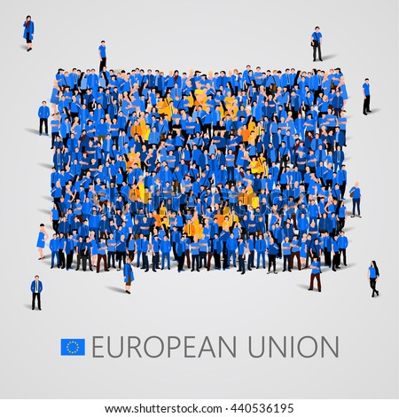 Large group of people in the shape of flag. European union. European union flag. European union flag art. European union image. European union flag picture. Austria flag people. Vector illustration - stock vector