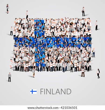 Large group of people in the shape of flag. Finland. Finland flag. Finland flag art. Finland flag image. Finland flag picture. Finland flag people. Finland Flag vector. Vector illustration - stock vector