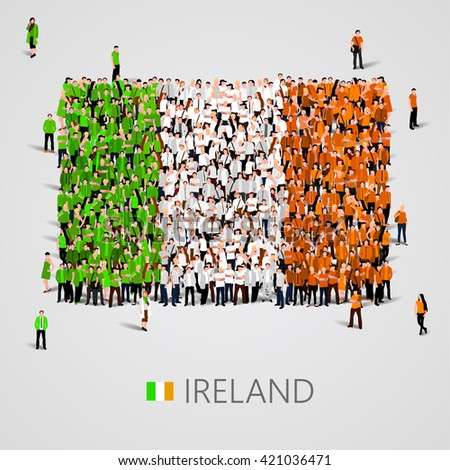 Large group of people in the shape of flag. Ireland. Ireland flag. Ireland flag art. Ireland flag image. Ireland flag picture. Ireland flag people. Ireland Flag vector. Vector illustration - stock vector