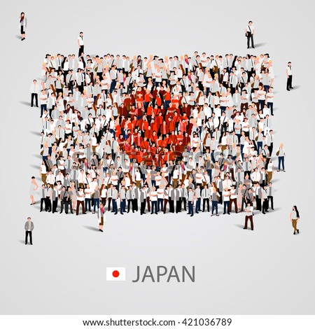 Large group of people in the shape of flag. Japan. Japan flag. Japan flag art. Japan flag image. Japan flag picture. Japan flag people. Japan flag EPS. Japan Flag vector. Vector illustration - stock vector