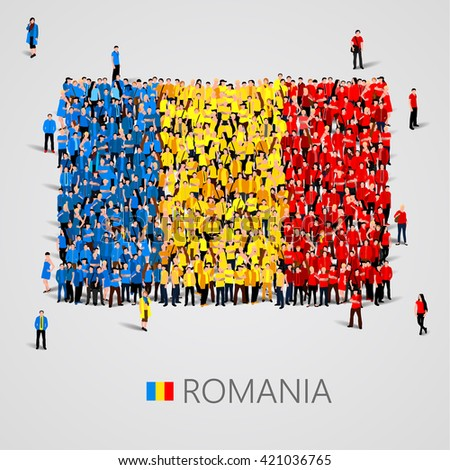 Large group of people in the shape of flag. Romania. Romania flag. Romania flag art. Romania flag image. Romania flag picture. Romania flag people. Romania Flag vector. Vector illustration - stock vector