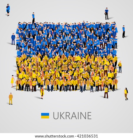 Large group of people in the shape of flag. Ukraine. Ukraine flag. Ukraine flag art. Ukraine flag image. Ukraine  flag picture. Ukraine flag people. Ukraine Flag vector. Vector illustration - stock vector