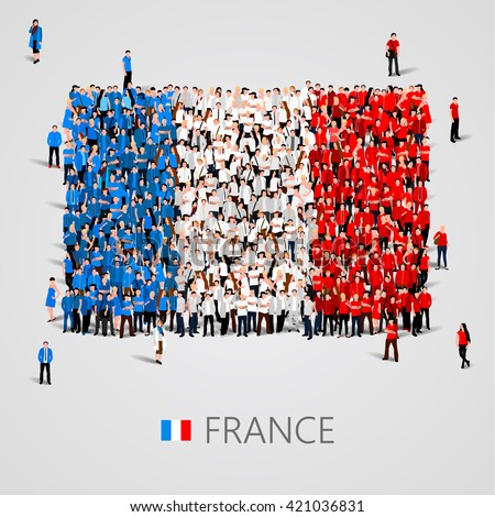 Large group of people in the shape of France flag. French Republic. Vector illustration - stock vector
