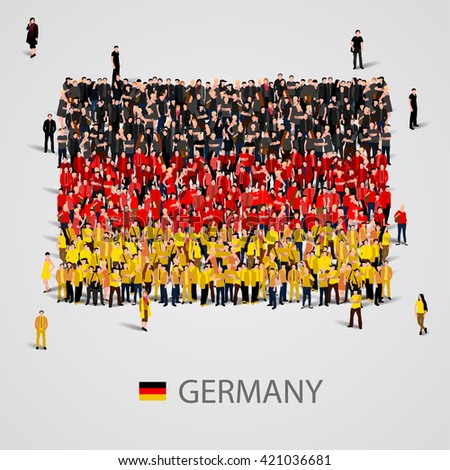 Large group of people in the shape of Germany flag. Federal Republic of Germany. Vector illustration - stock vector