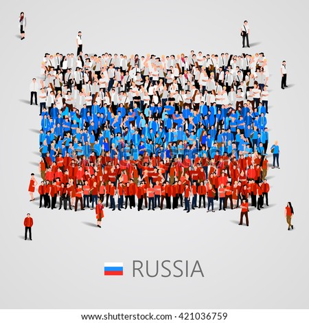 Large group of people in the shape of Russia flag. Russian Federation. Vector illustration - stock vector
