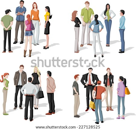 Large group of people meeting. Reunion. - stock vector